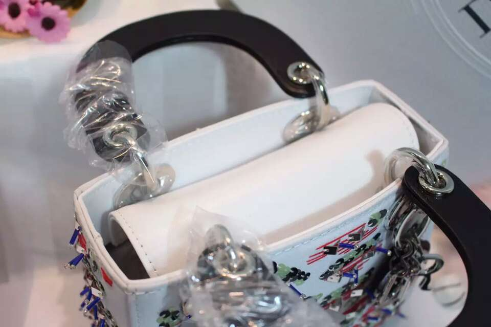 Dior女包批发 迪奥新款绣珠迷你戴妃包手提斜挎小包17cm