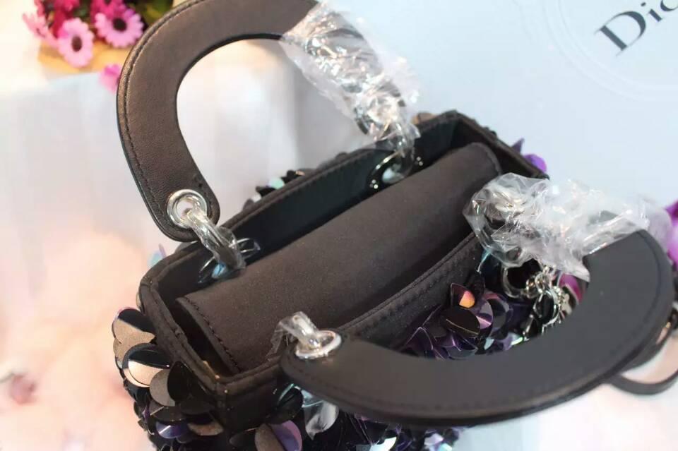 Lady Dior mini迪奥原版皮手工绣珠迷你三格戴妃包斜挎女包17cm