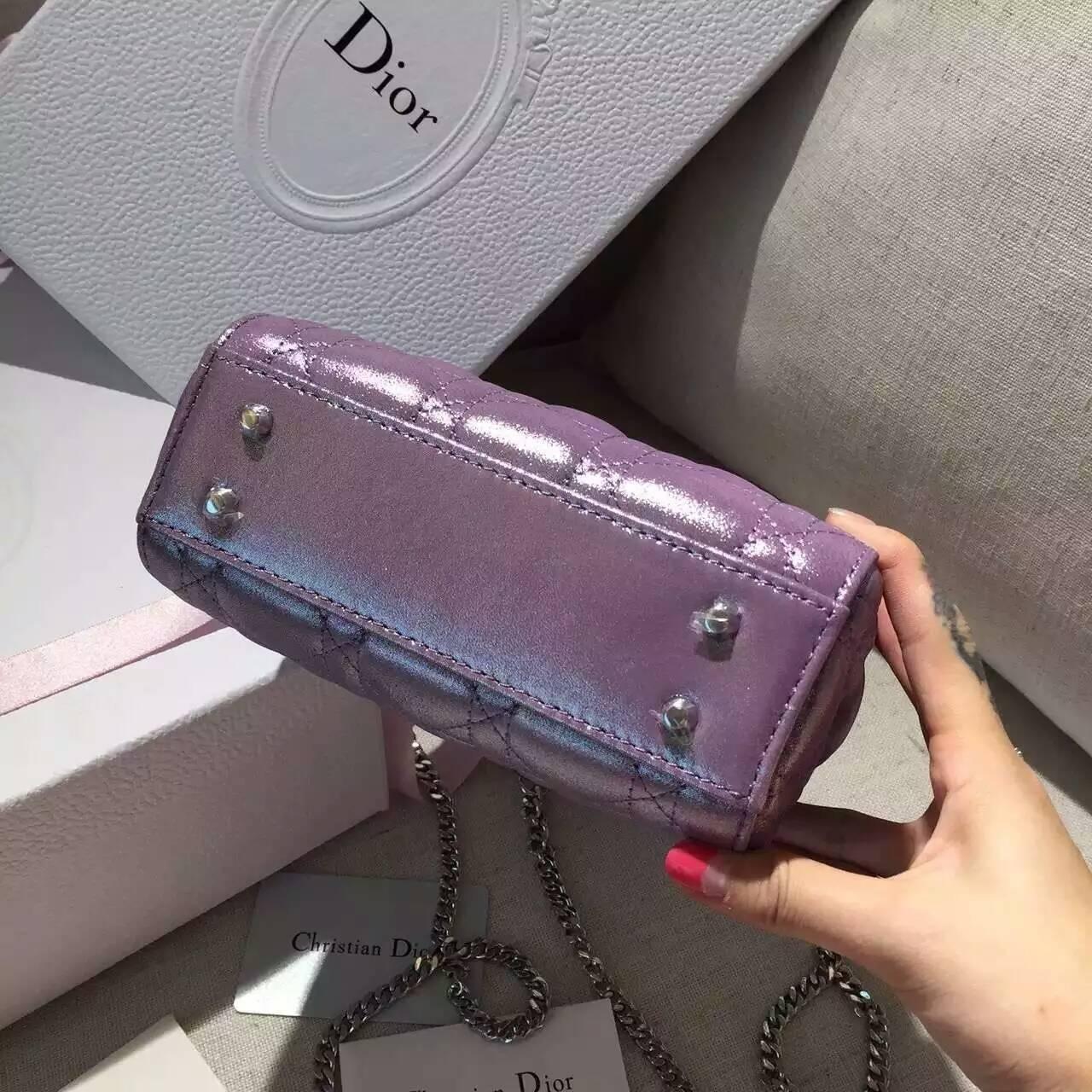 Lady Dior mini迪奥新款珠光布纹小羊皮迷你戴妃包三格 紫色