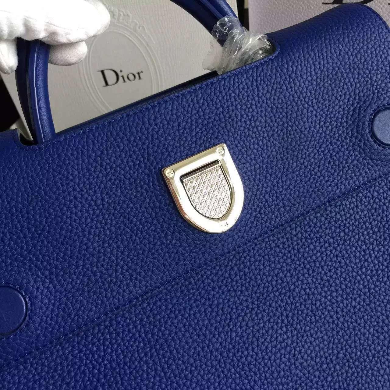 迪奥包包批发 Christian Dior蓝色原版荔枝纹牛皮手提包中号30cm