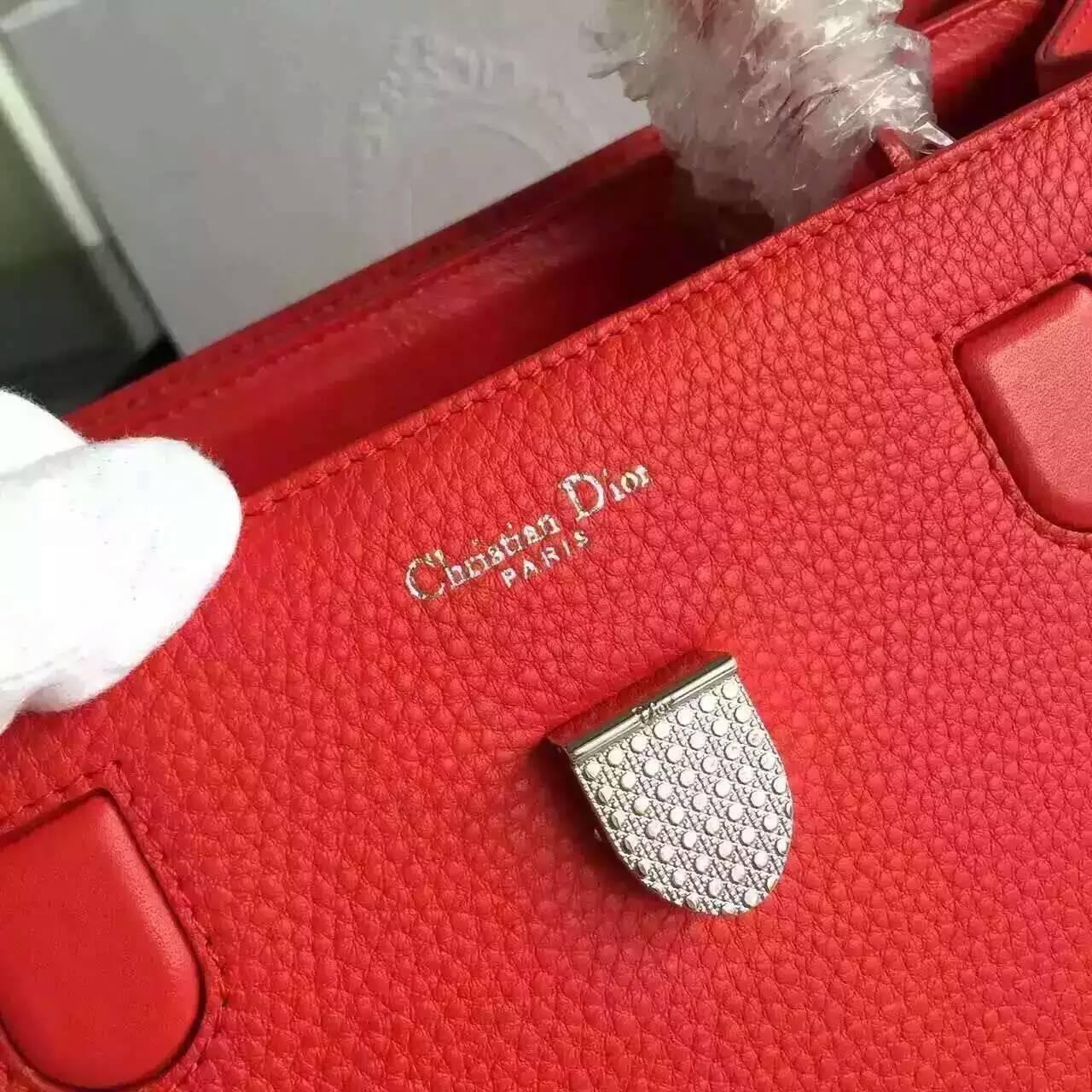 Dior包包官网 迪奥新款手提女包30cm 大红色原版荔枝纹牛皮