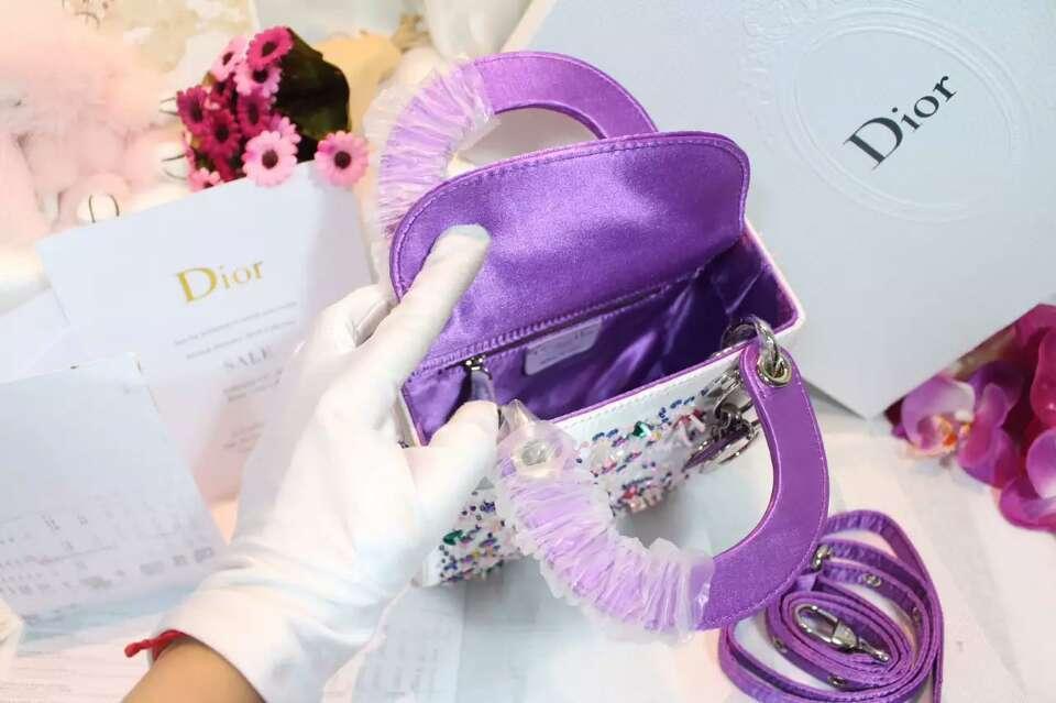 迪奥新款女包 Lady Dior mini迪奥迷你戴妃包手提包绣珠款17cm