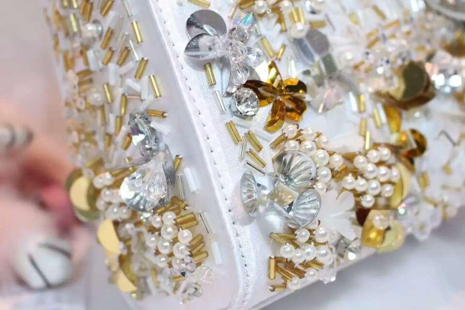 厂家直销 Lady Dior迪奥顶级原版皮手工绣珠迷你戴妃包17cm
