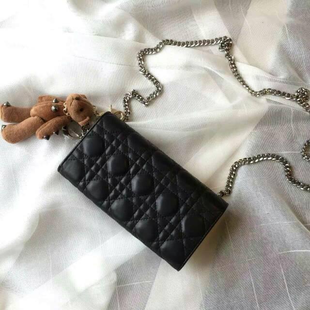 高档钱包批发 DIOR迪奥黑色原版羊皮 两折钱夹手包链条背包