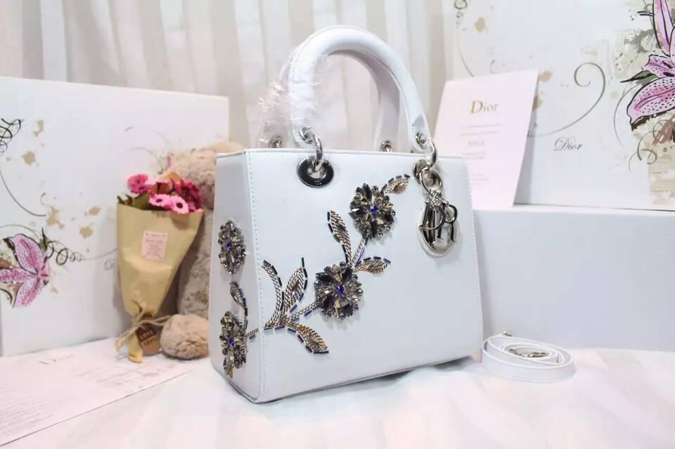 迪奥新款戴妃包 Lady Dior绣珠系列原单五格戴妃包24cm