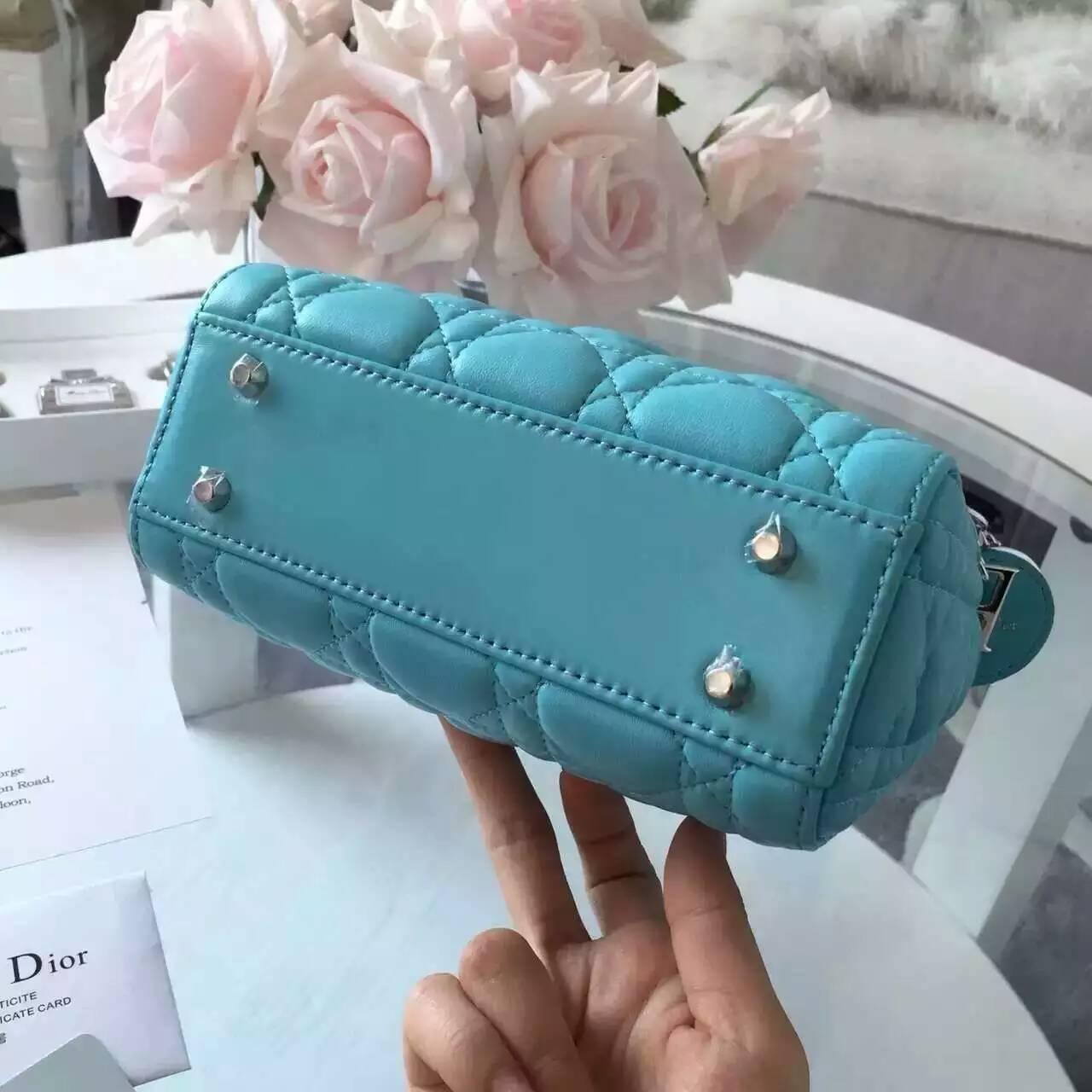 迪奥女包价格 Lady Dior mini三格戴妃包 水蓝色原版顶级羊皮
