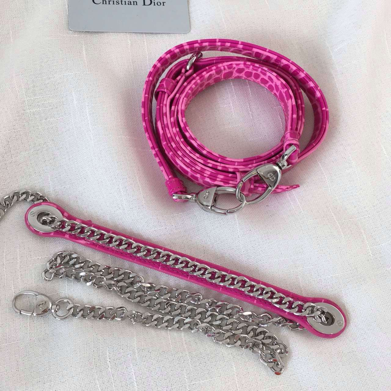 迪奥戴妃包Lady Dior mini 三格迷你戴妃包17cm 玫红牛皮压鳄鱼纹