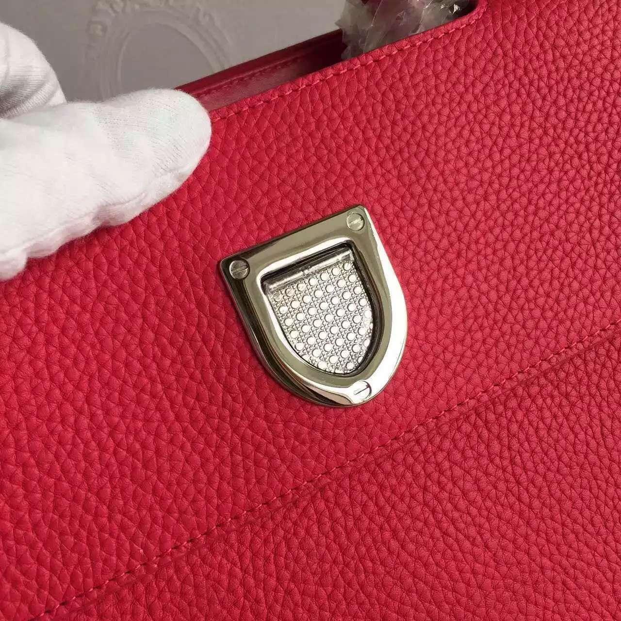Christian Dior迪奥包包官网 巴黎走秀款Diorever玫红荔枝纹皮手提女包