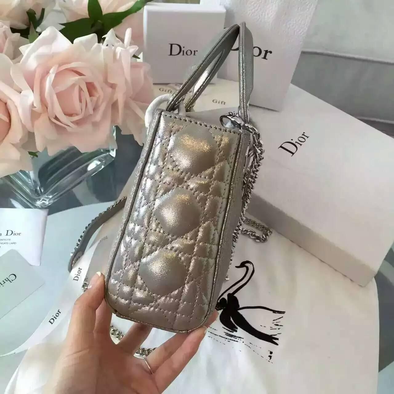 厂家直销 Lady Dior迪奥三格迷你戴妃包 灰色珠光布纹小羊皮