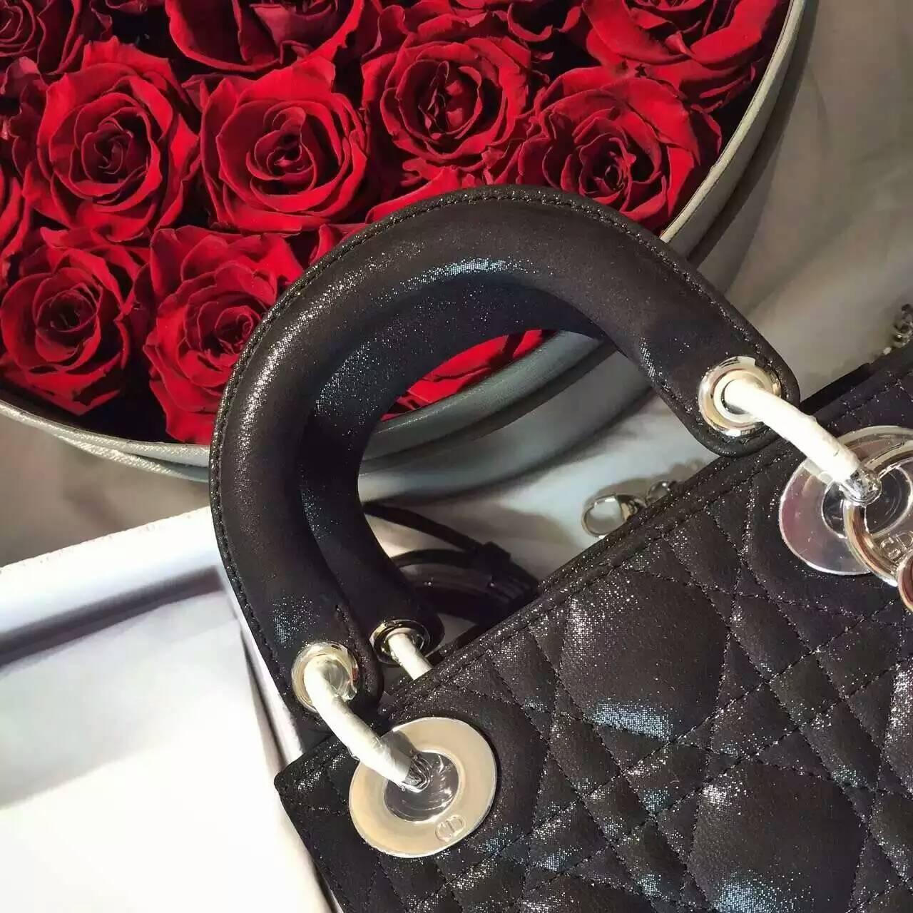 Christian Dior 迪奥三格戴妃包小号17cm 黑色珠光布纹小羊皮
