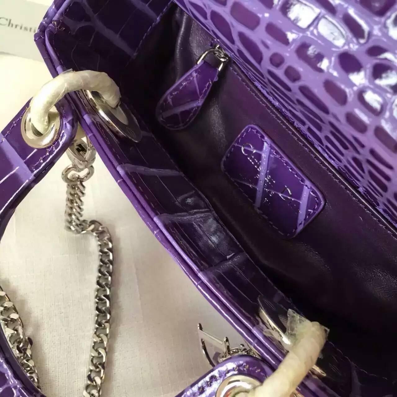 迪奥女包价格 Lady Dior mini进口小牛皮压鳄鱼纹三格戴妃包17cm 紫色