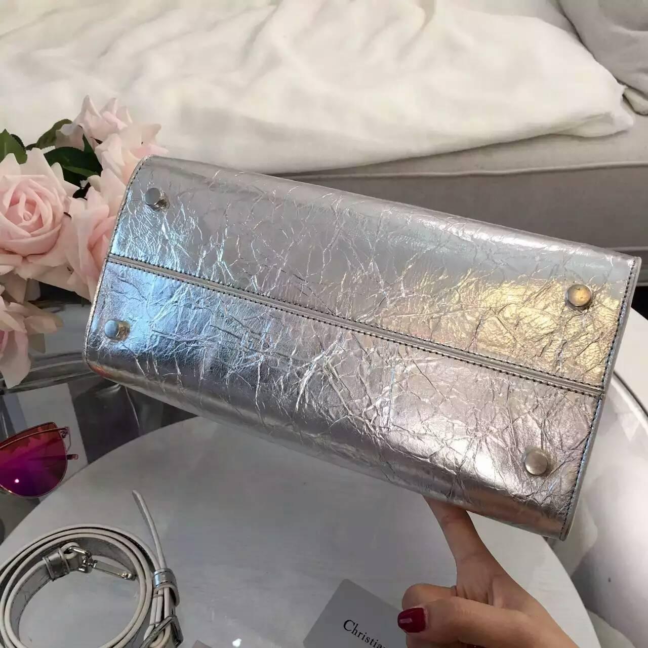 Christian Dior迪奥新款包包 Diorever银白色手提斜挎女包