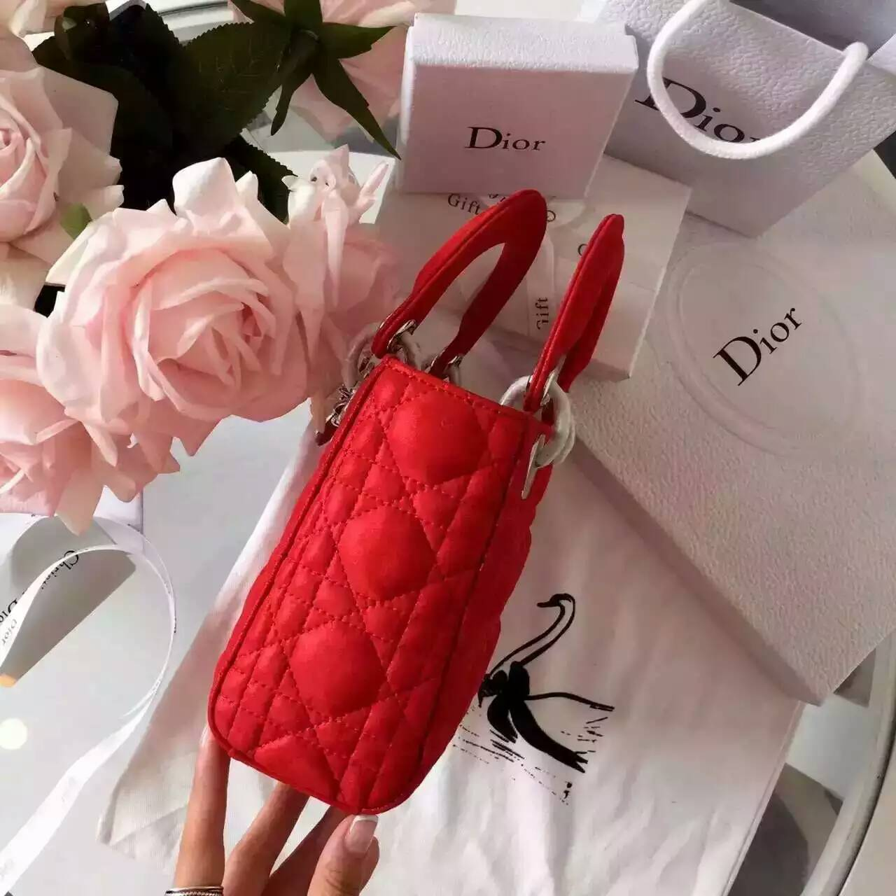 Dior迪奥新款女包 Lady Dior mini珠光布纹小羊皮迷你戴妃包 红色