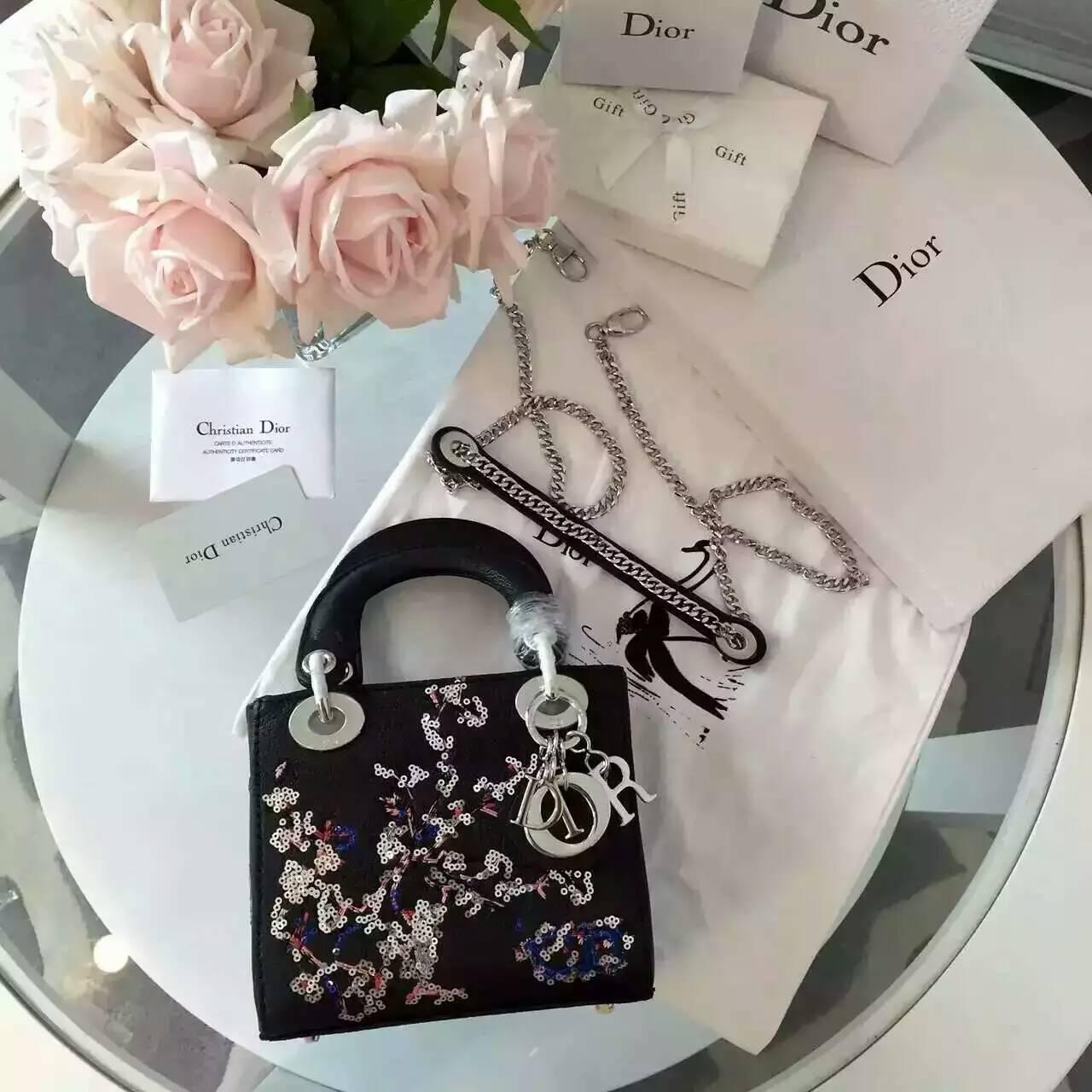 Dior包包官网 迪奥原单女包黑色山羊皮刺绣新款迷你戴妃包