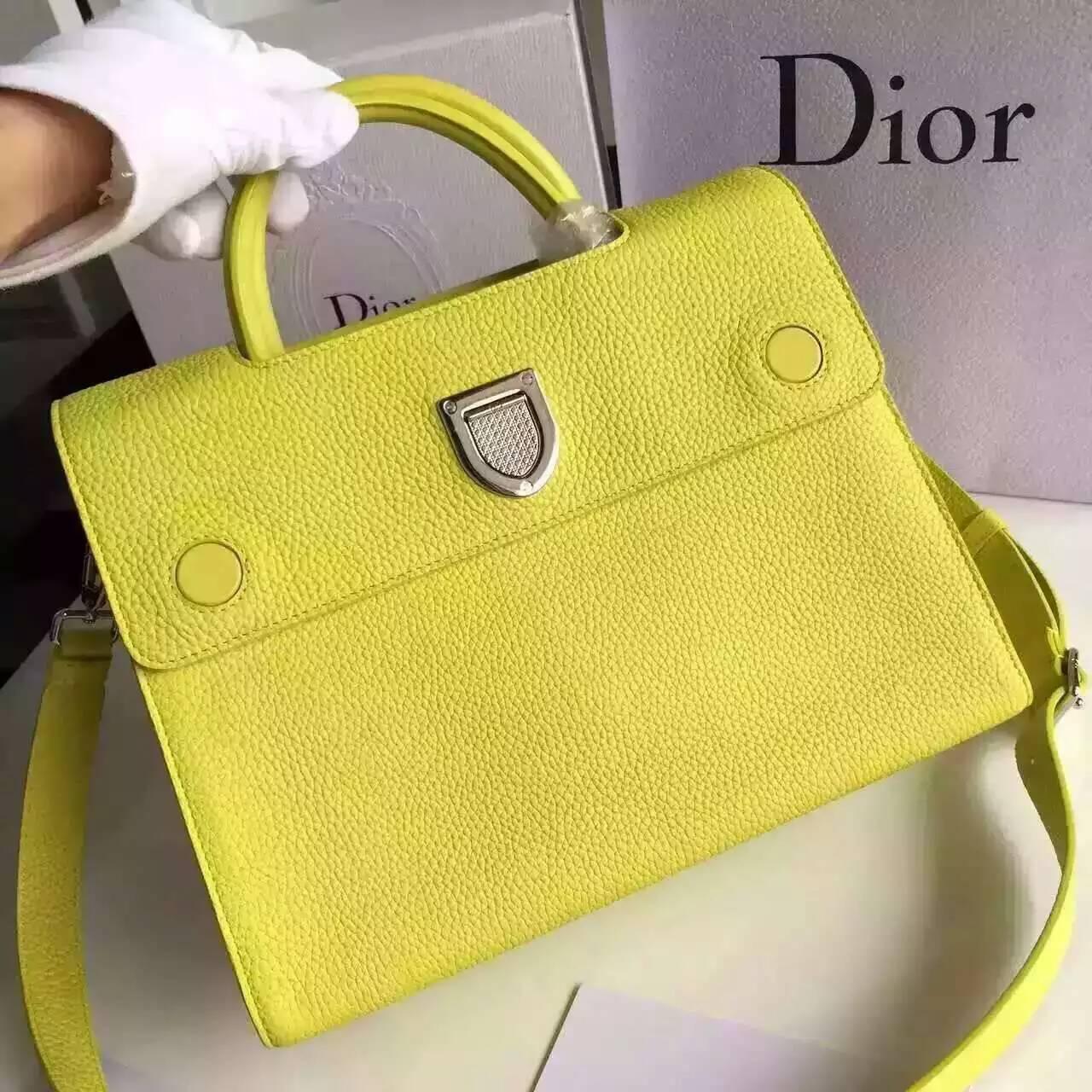 Christian Dior迪奥巴黎走秀款Diorever手提包斜挎包30cm 黄色荔枝纹牛皮