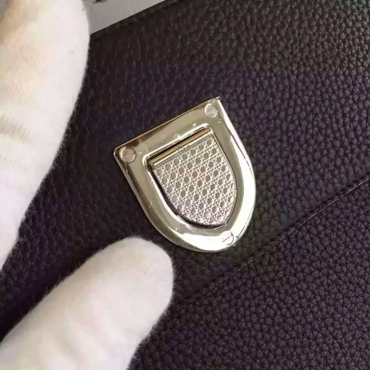 迪奥2016年新款女包 黑色原版荔枝纹牛皮Diorever手提包30cm