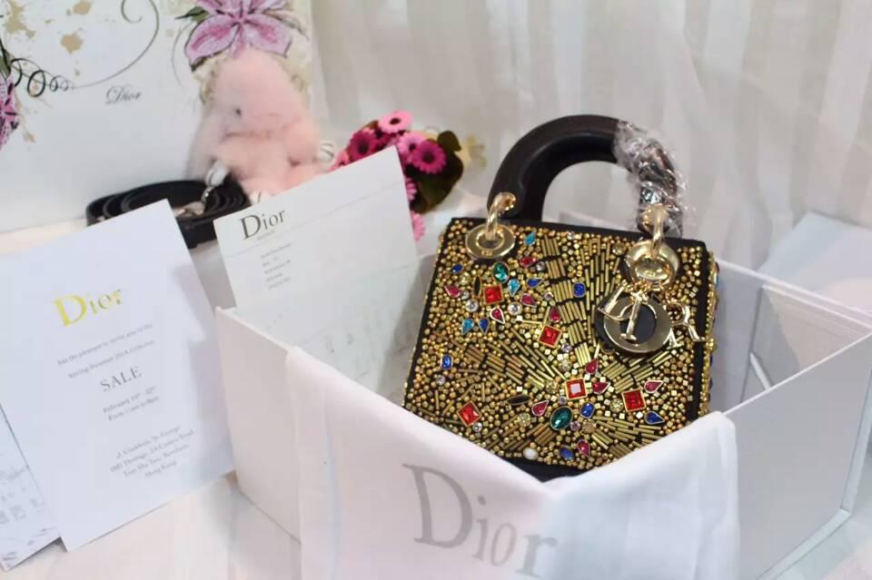 迪奥新款女包 Lady Dior mini手工绣珠戴妃包迷你号17cm