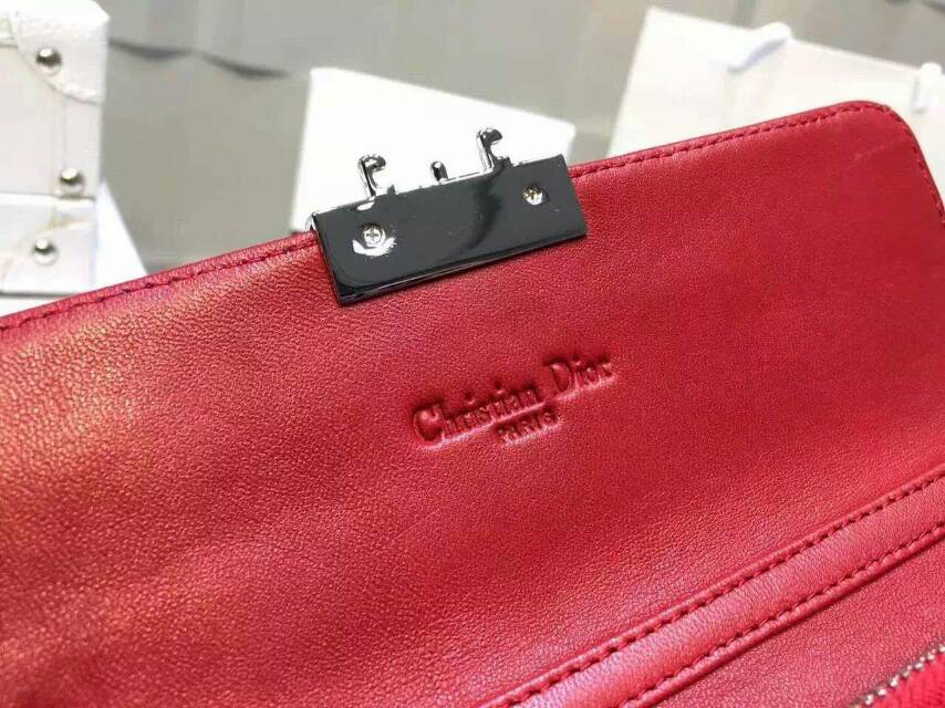 Dior钱包批发 迪奥蓝色原版漆皮 菱格两折链条钱包手包19cm