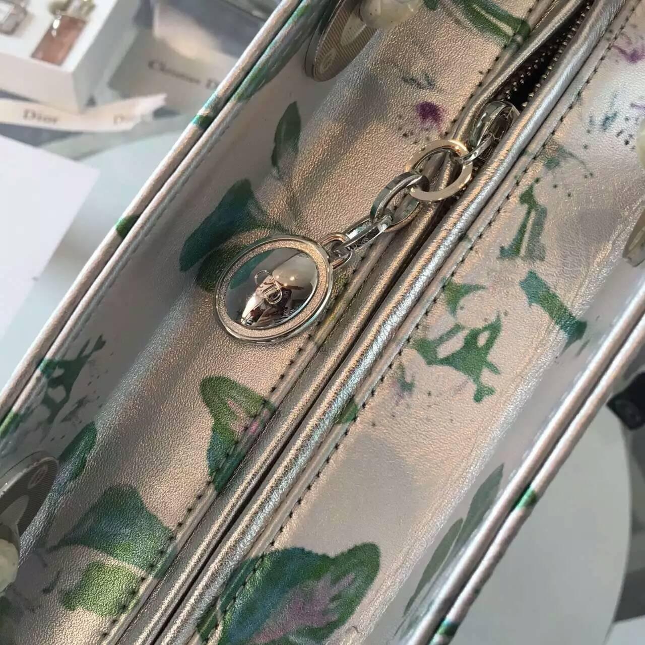 迪奥包包官网 Lady Dior迪奥印花五格戴妃包24cm 手提女包