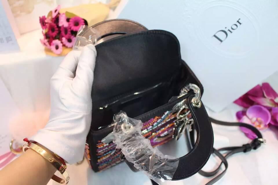 厂家直销 Lady Dior迪奥三格戴妃包 纯手工制作绣珠迷你戴妃包17cm