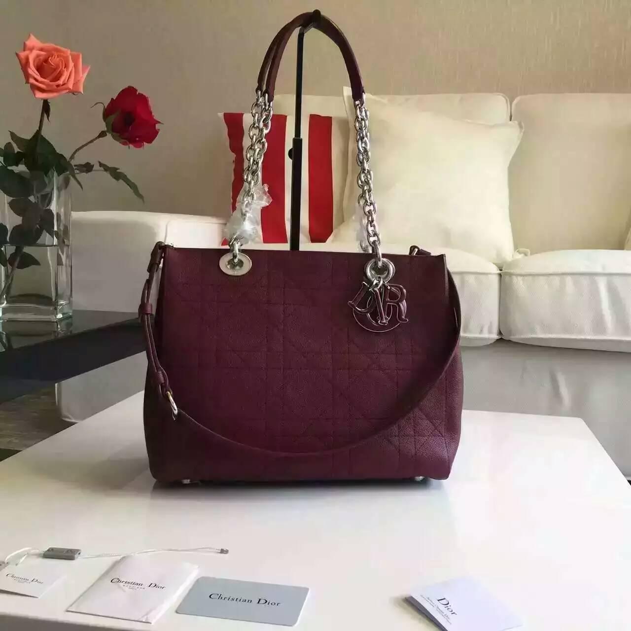 一件代发 Christian Dior迪奥16春夏新款女士购物袋 枣红色粒面牛皮