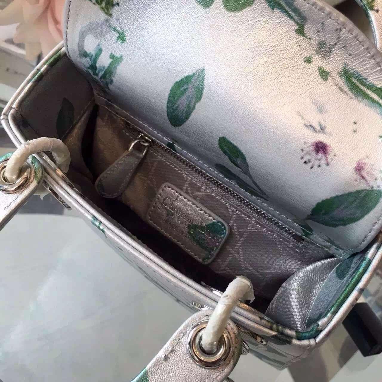 Lady Dior mini迷你戴妃包梨花印花款 迪奥链条单肩斜挎女包