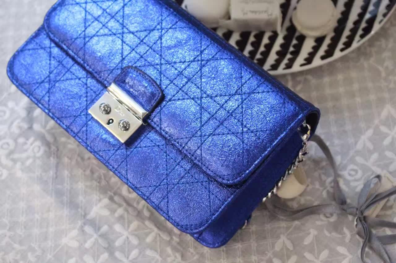 一件代发货 Dior迪奥女包批发 Miss Dior金属电光蓝色链条肩背包