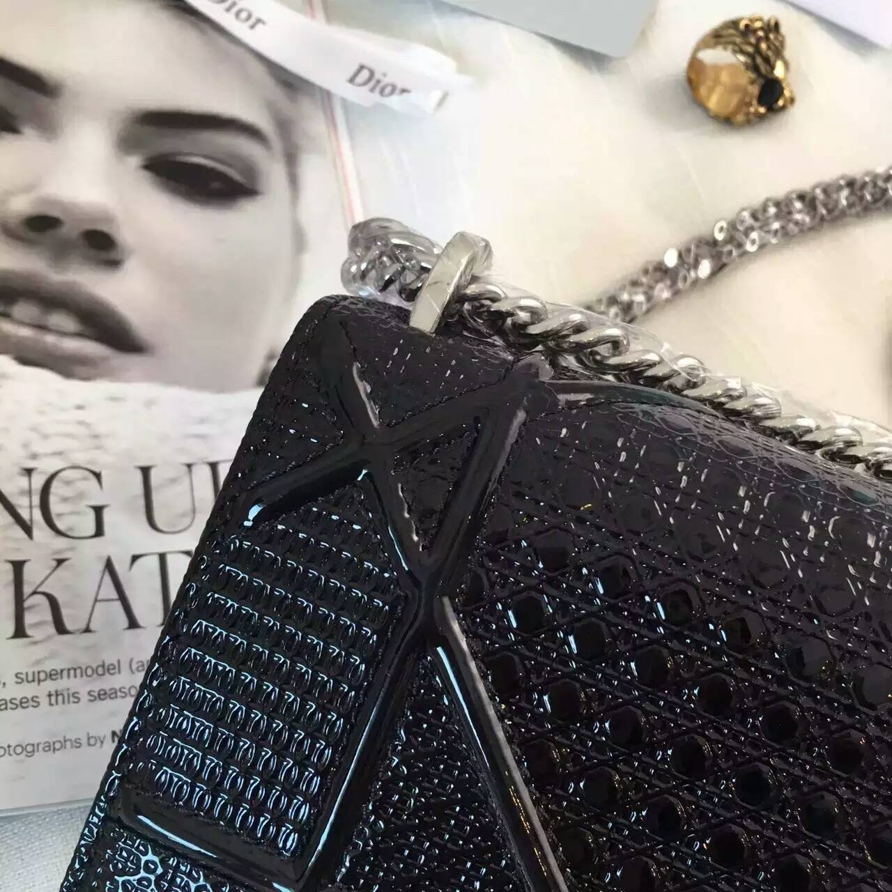 迪奥女包价格 Diorama黑色原版皮夏季新款斜挎小包18cm