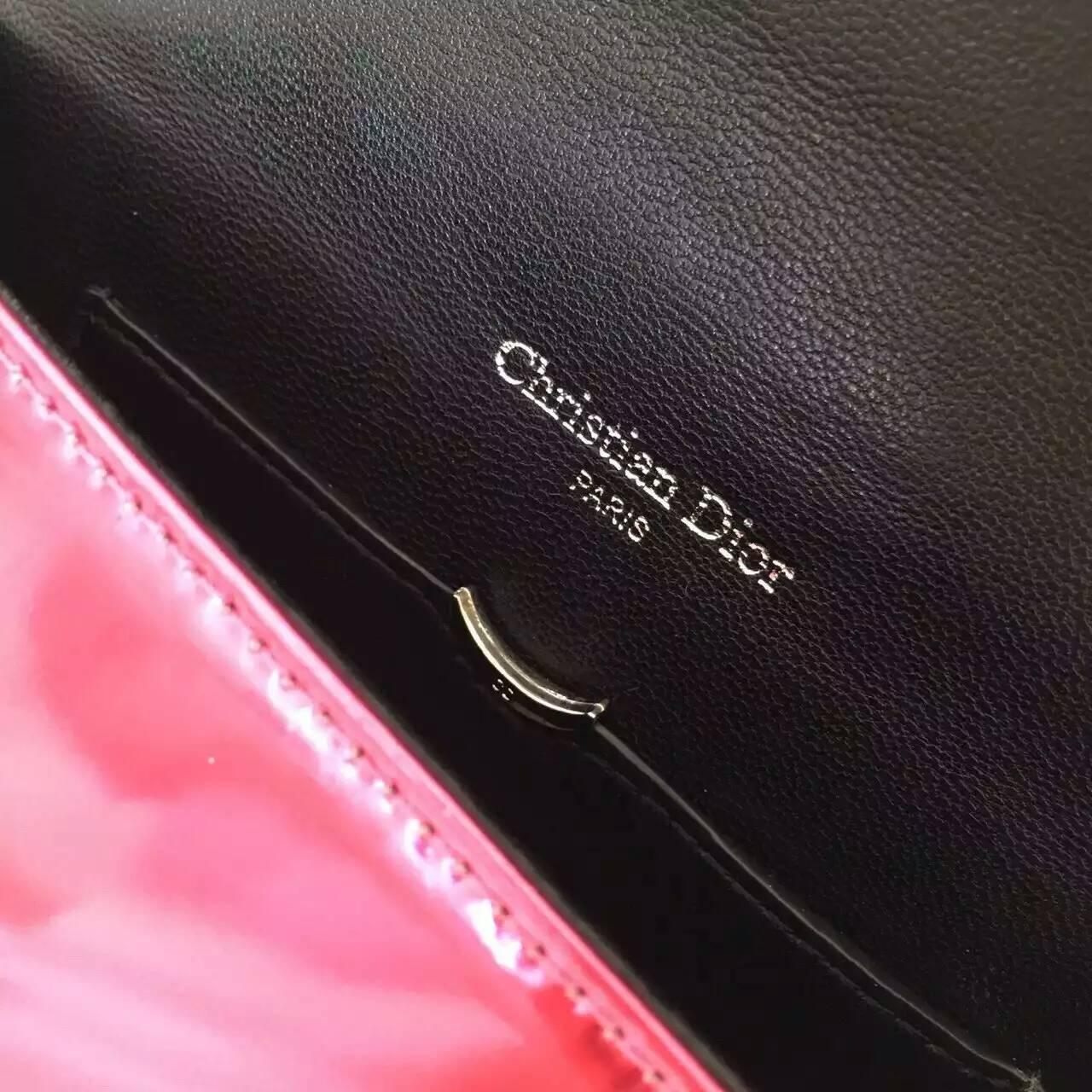 Dior包包尺寸 迪奥新款原版皮Diorama链条单肩女包18cm 玫红