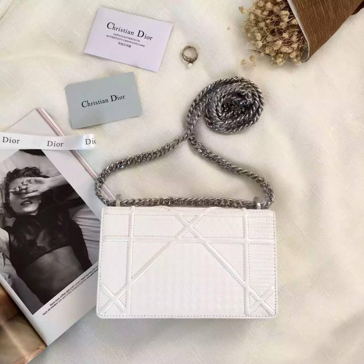 广州白云皮具城 Dior迪奥白色原版皮链条单肩斜挎女包18cm