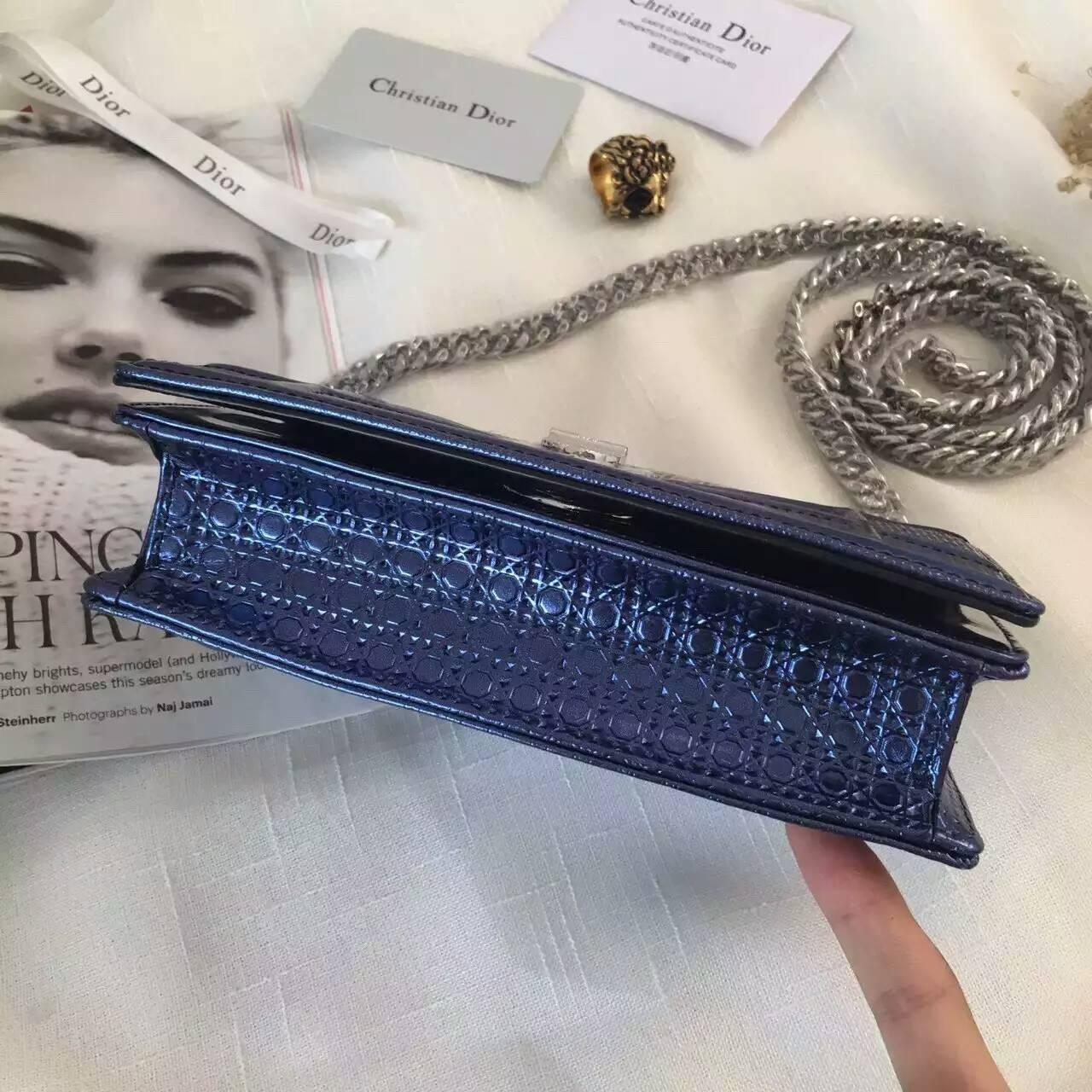 高档女包批发 Diorama迪奥新款小香风链条斜挎女包 深蓝色
