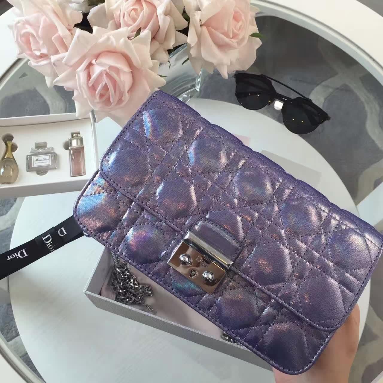 迪奥包包价格 Miss Dior布纹皮系列 紫色链条肩背包