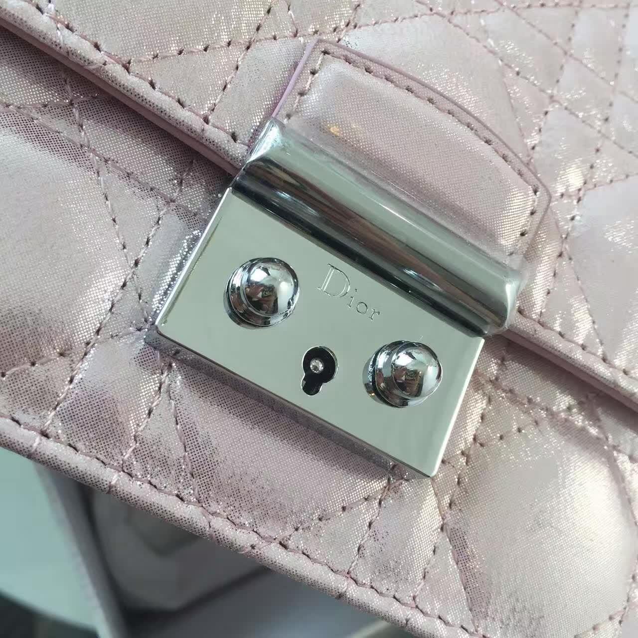 Dior女包批发 迪奥粉色原版布纹皮 链条单肩斜挎女包