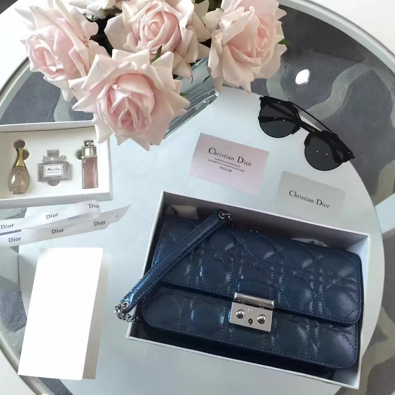 厂家直销 迪奥新款女包 Miss Dior布纹系列链条单肩包 深蓝色