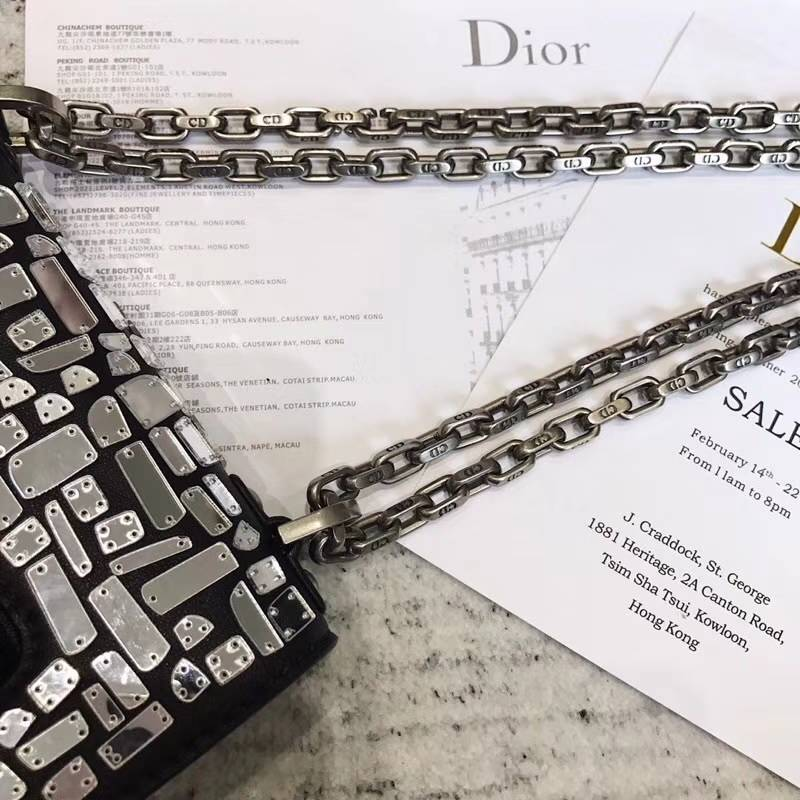 迪奥2018新款包包 Dior艺术级限量款镜面碎片翻盖链条单肩包手拿包24CM