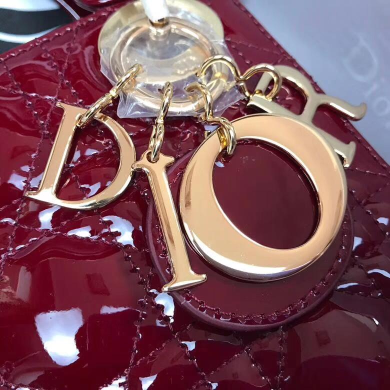 迪奥包包官网 Dior经典款三格戴妃包 酒红色漆皮迷你戴妃包mini17cm 金扣
