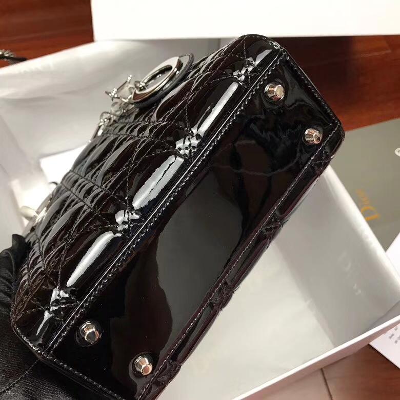 Lady Dior mini迪奥黑色牛皮漆皮三格戴妃包迷你款链条单肩女包 银扣