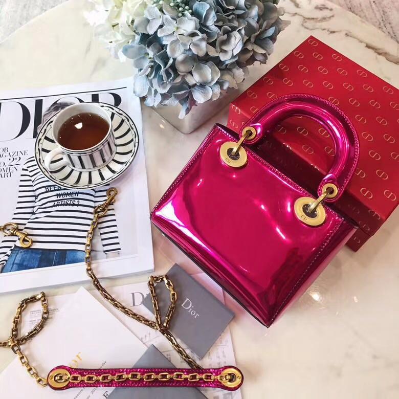 迪奥新款戴妃包 miniLady Dior17cm 玫红色镜面手提包链条单肩包