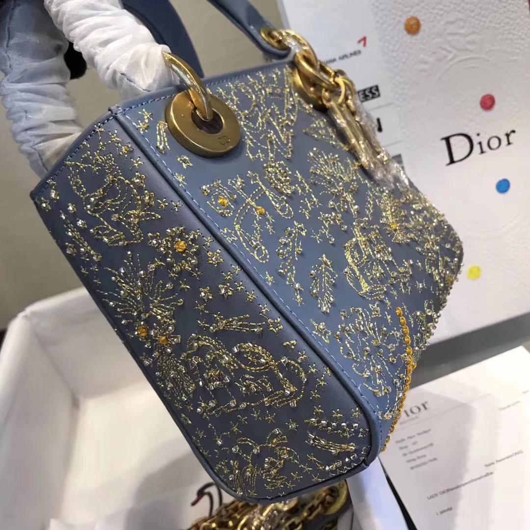 LadyDior mini 迪奥新款编织星空系列迷你戴妃包新款手提女包17cm 蓝色