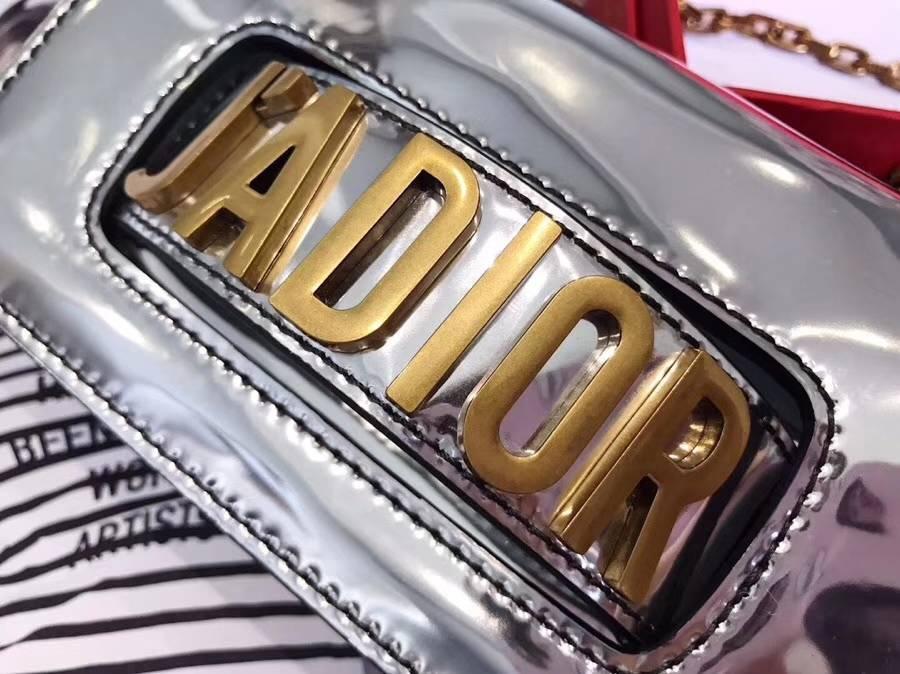 迪奥包包官网 miniJadior银色镜面系列链条单肩包新款女包18cm