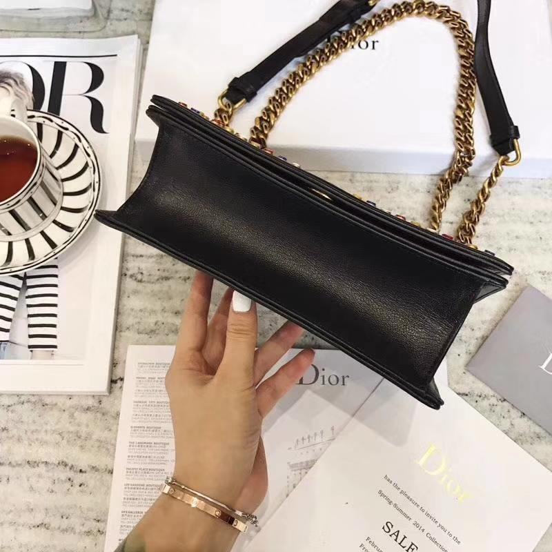 迪奥2018新款女包 Diorama黑色山羊皮彩色玻璃饰钉翻盖式链条单肩斜挎包21.5cm