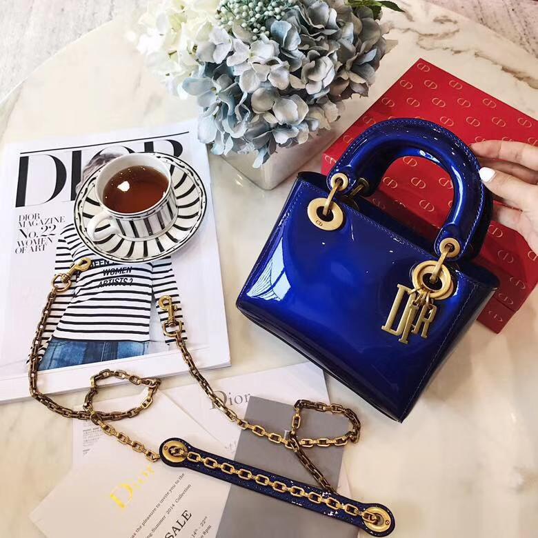 迪奥包包批发 miniLady Dior2018新款彩色镜面系列迷你戴妃包17cm 蓝色