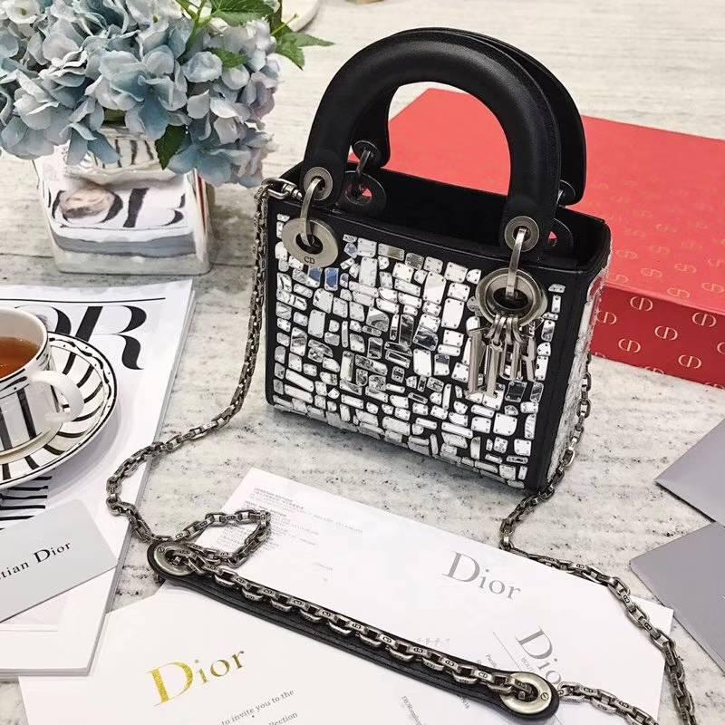 Dior限量款包包 迪奥2018新款镜面碎片装饰迷你戴妃包手提单肩女包17cm