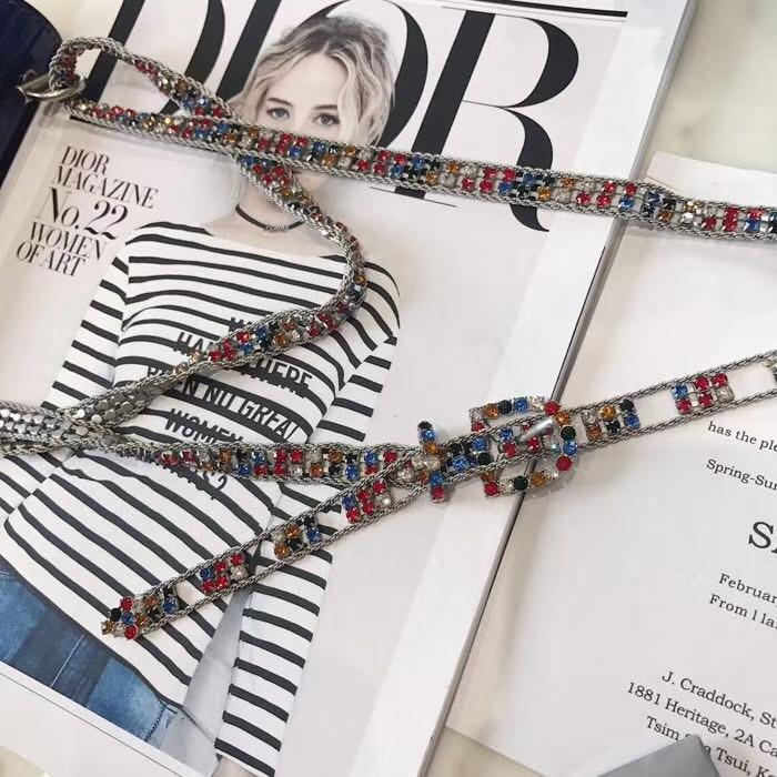 Dior彩色宝石限量Addict系列 迪奥蓝色镜面七彩宝石肩带新款单肩斜挎包包
