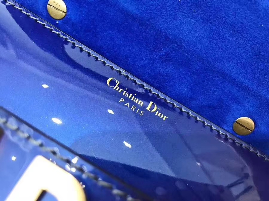 迪奥2018新款包包 蓝色镜面系列miniJadior链条单肩女包手包18cm
