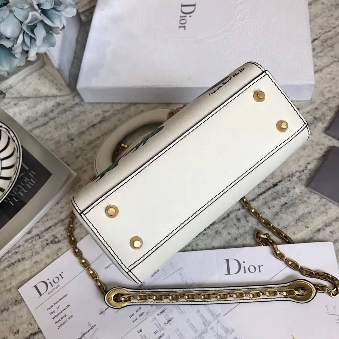 迪奥新款戴妃包 Lady Dior mini立体恐龙印花原色小牛皮手提女包17cm
