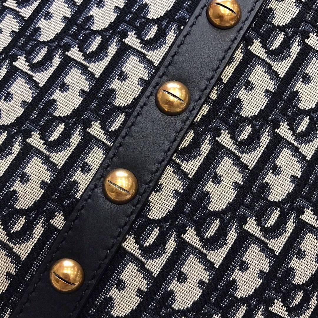 迪奥新款女包 Dior经典帆布Logo手提水桶包单肩斜挎包包21cm