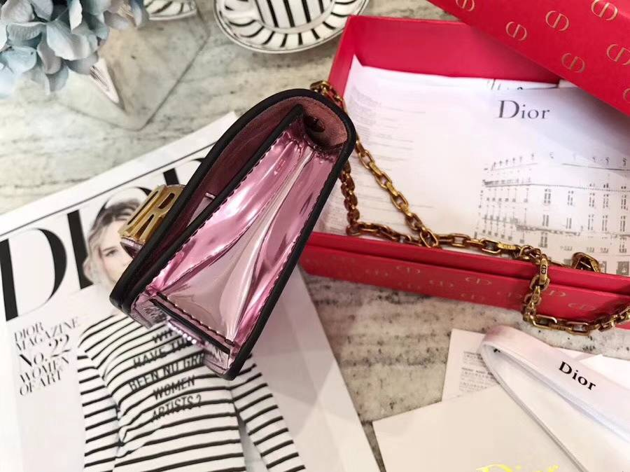 Dior包包官网 迪奥miniJadior彩色镜面系列链条单肩女包手拿包18cm 粉色