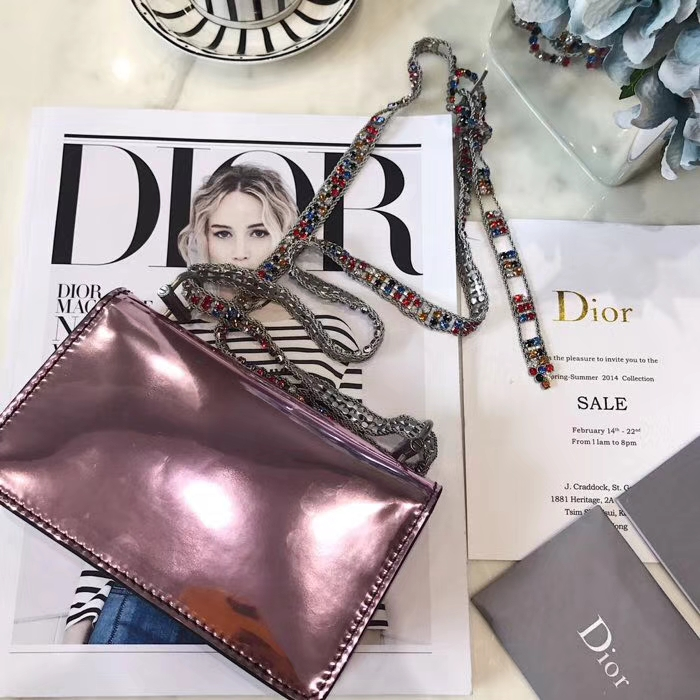 迪奥新款女包 Dior Addict系列 限量彩色宝石肩带镜面单肩斜挎包包