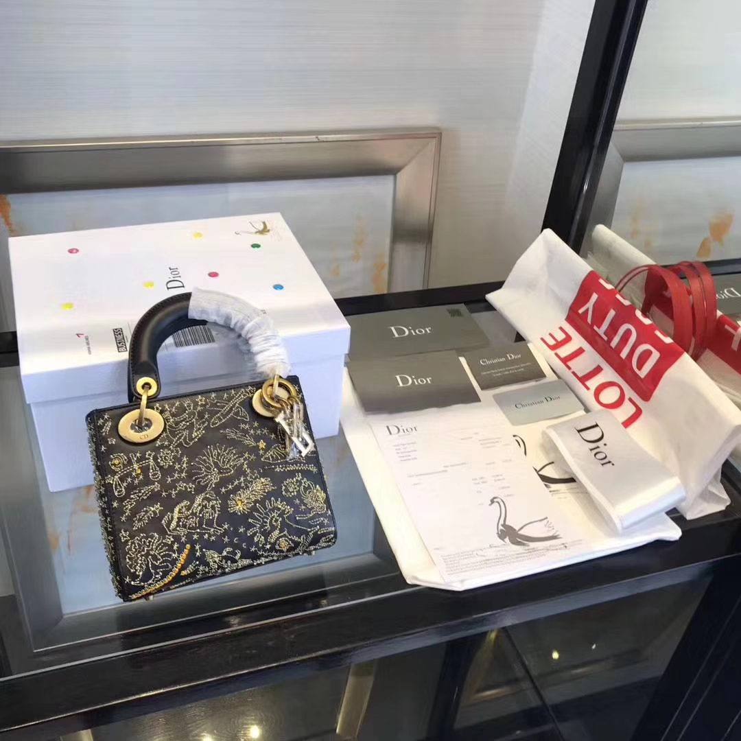 Dior包包官网 迪奥星空系列迷你戴妃包LadyDior mini17CM新款女包 黑色